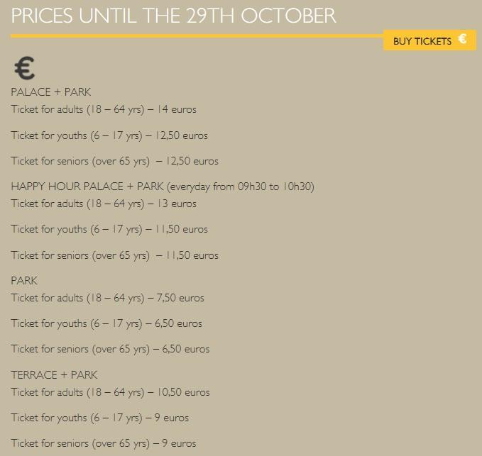 Стоимость посещения дворца Пена