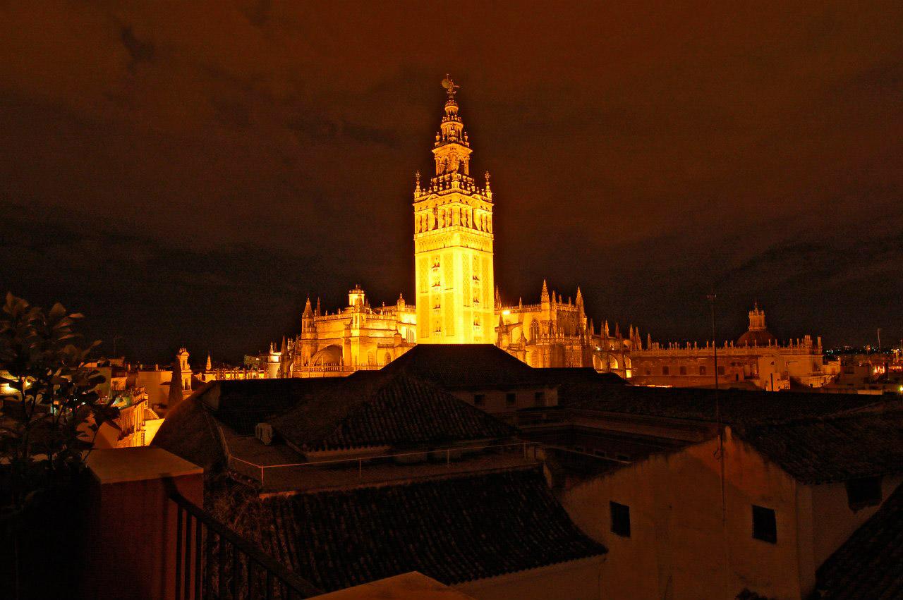 ночной вид на Севильский собор