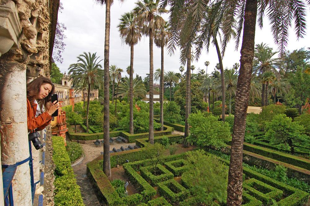 Вид на парк Севильского Алькасар