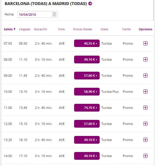 расписание поездов Барселона - Мадрид на апрель 2016 г.