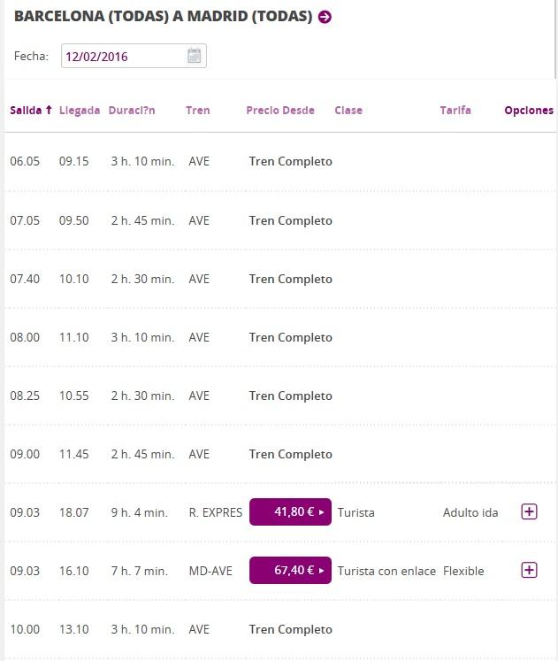 Расписание поездов Барселона - Мадрид на завтра