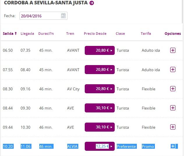 Расписание поездов Кордоба - Севилья на апрель 2016 г.