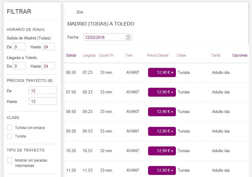 расписание поездов Мадрид - Толедо на сайте renfe.com