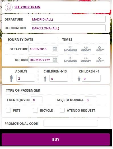 Форма для покупки билетов на сайте Renfe