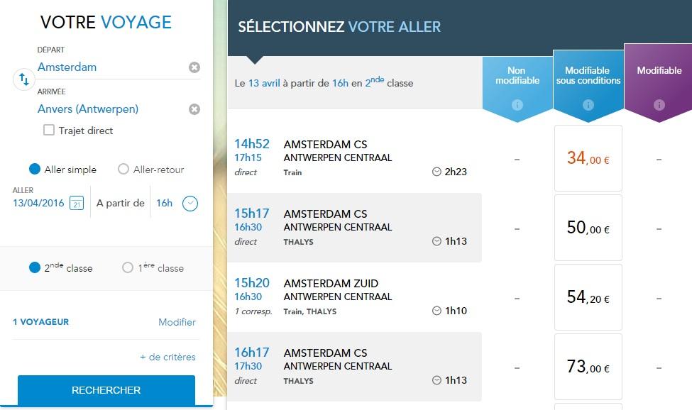 расписание поездов Амстердам - Антверпен