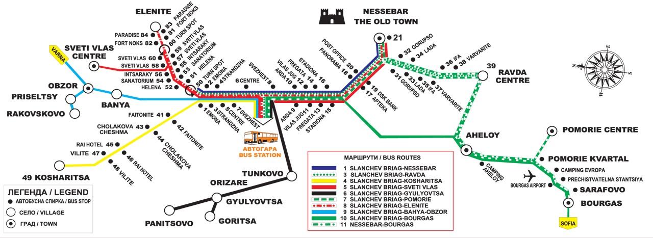 схема автотранспорта Несебра