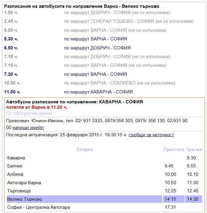 фрагмент расписания автобусов Варна - Велико Тырново - София