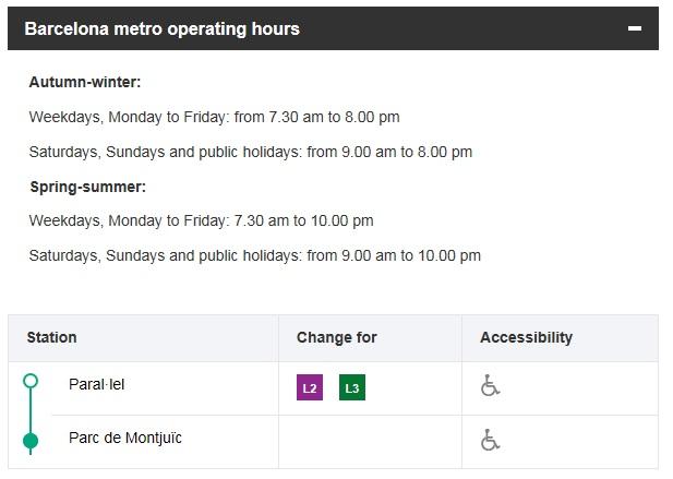 Расписание работы Montjuïc Funicular Railway